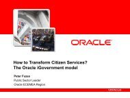 How to Transform Citizen Services? The Oracle iGovernment model