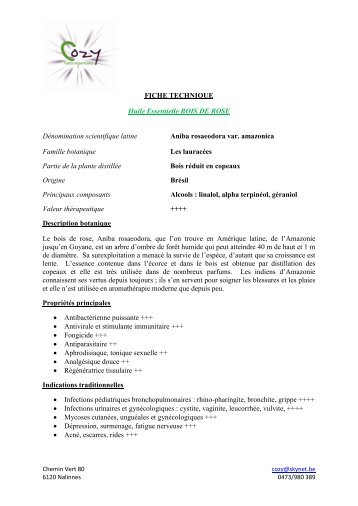 FICHE TECHNIQUE Huile Essentielle BOIS DE ... - COZY Belgique