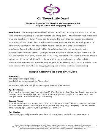 Oh Those Little Ones! - Ooey Gooey, Inc.