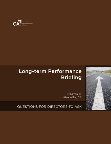 Long-term Performance Briefing: Questions for Directors to Ask