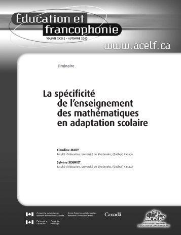 Liminaire », Éducation et francophonie, vol. XXXI, n o 2 ... - acelf