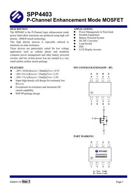 SPP4403 P-Channel Enhancement Mode MOSFET