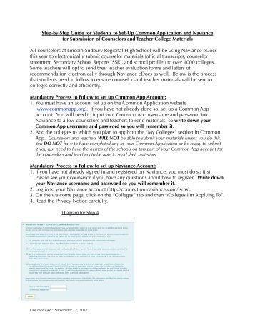 Naviance Guide for Students - Lincoln-Sudbury Regional High School