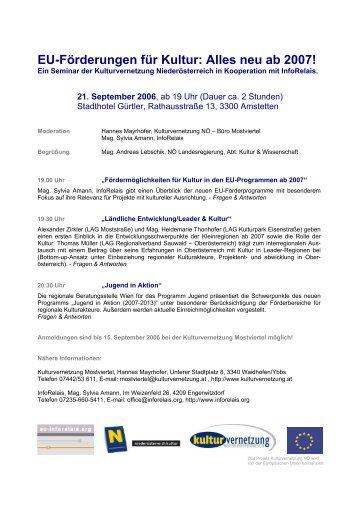 EU-Förderungen für Kultur: Alles neu ab 2007! - kulturmanager.at