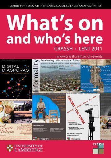 CRASSH • LENT 2011 - CRASSH and - University of Cambridge