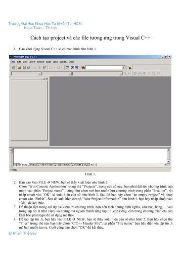 Cách tạo project và các file tương ứng trong Visual C++ - Khoa Toán ...
