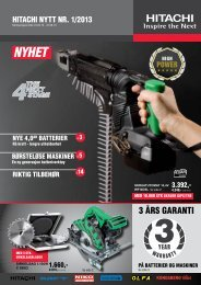 3 års GArANti - Hitachi Power Tools AS