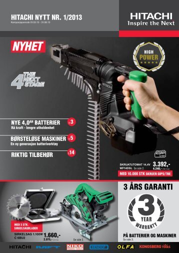 3 års GArANti - Hitachi Power Tools AS