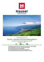 Azoren - Wandern bei den Wettergöttern - Hauser exkursionen