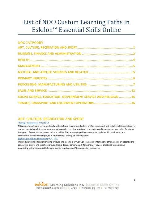 List of NOCi Custom Learning Paths in Eskilon™ Essential Skills ...