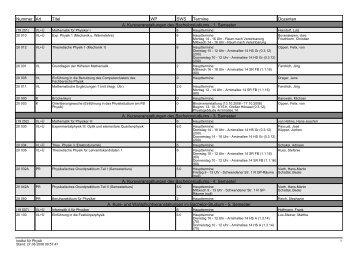 Vorlesungsverzeichnis - Fachbereich Physik