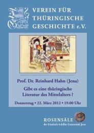 Prof. Dr. Reinhard Hahn (Jena) - Verein für Thüringische Geschichte