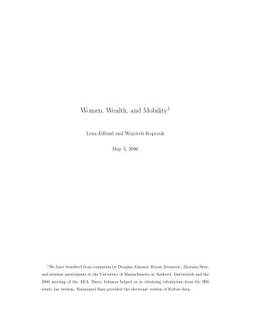 Women, Wealth, and Mobility1 - Thomas Piketty