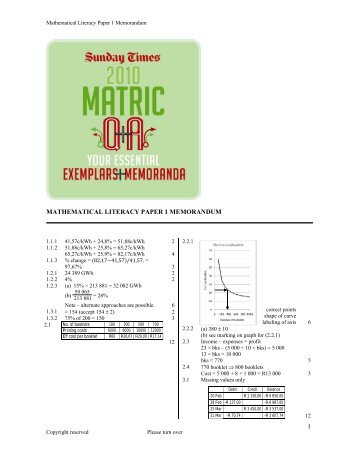 1 mathematical literacy paper 1 memorandum - Times LIVE