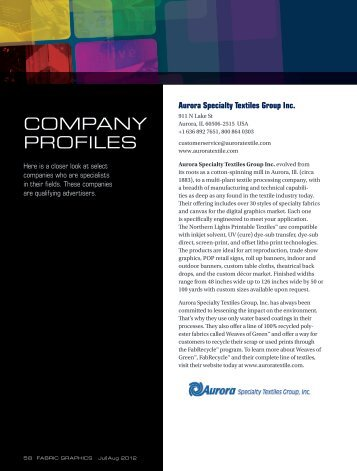 View last year's company profiles - Fabric Graphics