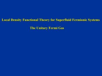 Local Density Functional Theory for Superfluid Fermionic Systems ...