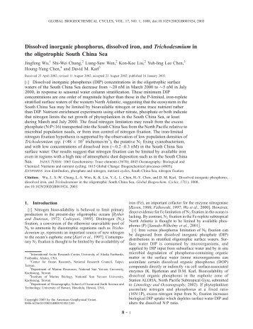 Dissolved inorganic phosphorus, dissolved iron, and ...