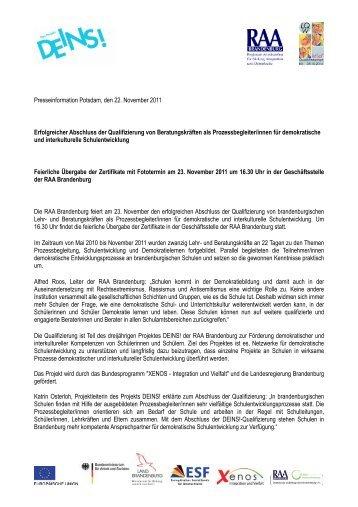 Presseinformation Erfolgreicher Abschluss - BAG der, RAA