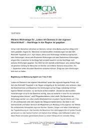 Pressemitteilung - GDA Gemeinschaft Deutsche Altenhilfe GmbH