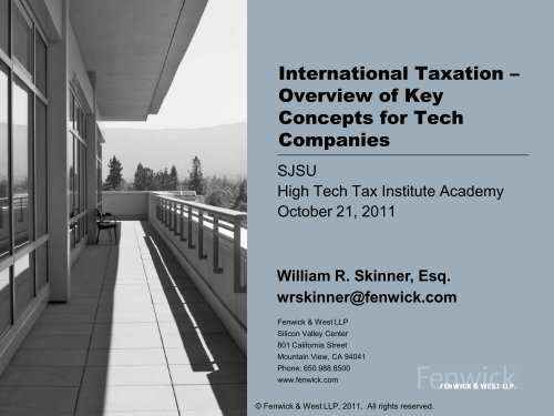 International Taxation – Overview of Key Concepts for Tech ...