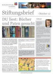 Stiftungsbrief Oktober 12 - Bürgerstiftung Duisburg