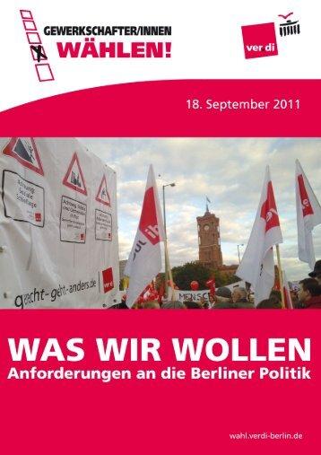 Anforderungen an die Berliner Politik von ver.di - Der Blitzer Online