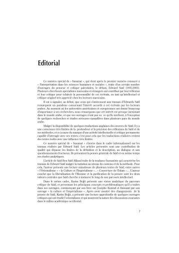 Editorial - Faculté des Lettres et des Sciences Humaines Ben M'sik ...