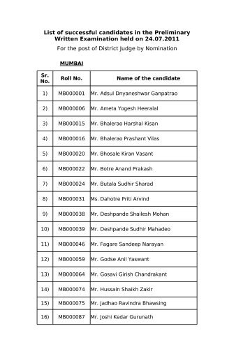 For the post of District Judge by Nomination List of successful ...