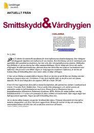 Aktuellt från Smittskydd & Vårdhygien, nr 2/2012 - Landstinget Dalarna