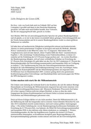 Meine Bewerbung um einen Listenplatz für die Bundestagswahl 2005