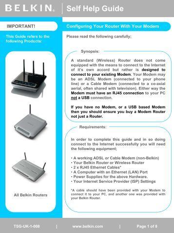 Configuring Your Router With Your ADSL Or Cable Modem - Belkin
