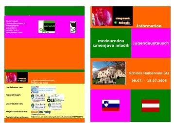 .information mednarodna izmenjava mladih jugendaustausch