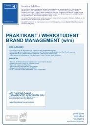 PRAKTIKANT / WERKSTUDENT BRAND MANAGEMENT (w/m)