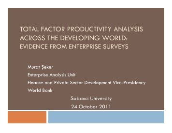 total factor productivity analysis across the developing world - REF