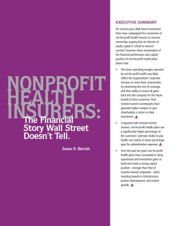 Nonprofit Health Insurers: The Financial Story Wall Street Doesn't Tell