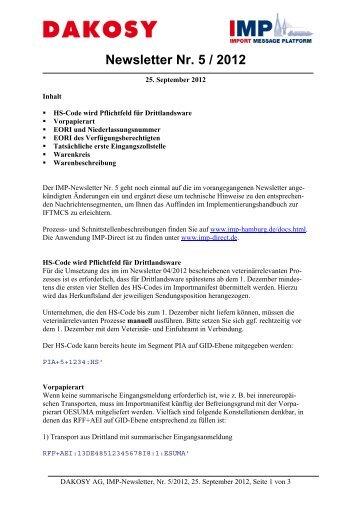 Newsletter Nr. 5 / 2012 - DAKOSY Datenkommunikationssystem AG