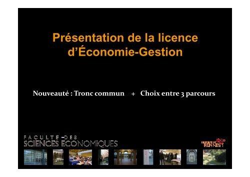 Nouvelle Licence eco gestion rentrée 2012 site [Mode de ... - WiWi