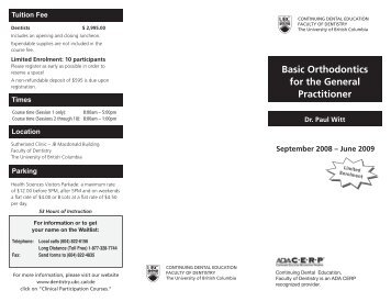 Basic Orthodontics for the General Practitioner - UBC Dentistry ...