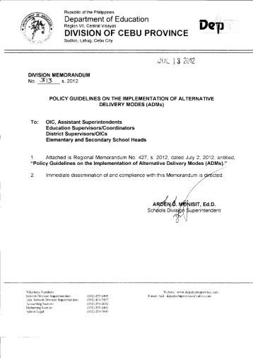 Memo No. 313, S. 2012 - DepEd Cebu Province