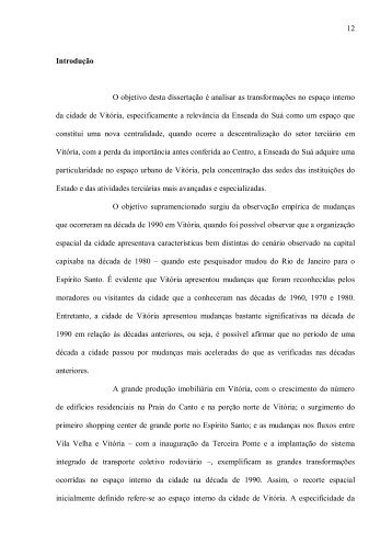 12 Introdução O objetivo desta dissertação é analisar as ...