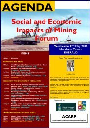Social and Economic Impacts of Mining Forum - Bowen Basin
