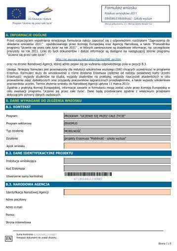 Formularz wniosku EN - Erasmus