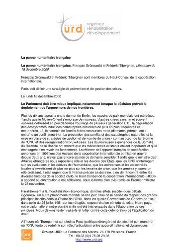 La panne humanitaire française - Groupe URD