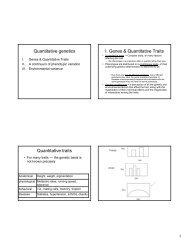 Quantitative genetics I. Genes & Quantitative Traits Quantitative traits