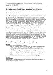 Entstehung und Entwicklung der Open Space Methode - Regiosuisse