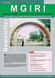 NewsLetter November 2009 - Mahatma Gandhi Institute for Rural ...