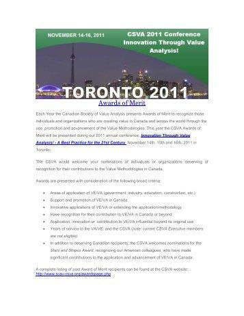 Awards of Merit - Canadian Society of Value Analysis (CSVA)
