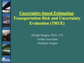 Uncertainty-based Estimating: Transportation Risk ... - SCAV-CSVA