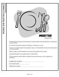 Room Service Menu - General - Spanish - Meriter Health Services