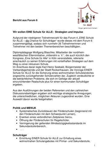 Bericht aus Forum 6 - EINE Schule für ALLE